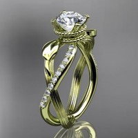 14kt  yellow gold diamond leaf and vine wedding ring,engagement rin......