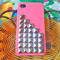 silver pyramid stud Peach Hard Case Cover by jewelrybraceletcuff