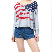 US Flag Pattern Smock Top