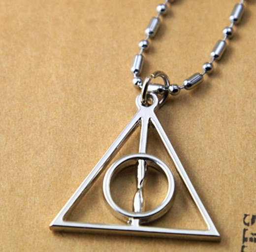 Silver metal Deathly Hallows Symbol necklace by qizhouhuang