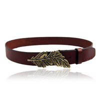 Metal Leaf Buckle Belt