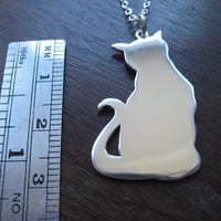 Cat Silver Pendant Necklace by GorjessJewellery on Etsy
