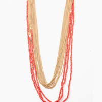 Multi-beaded Chain Combo Necklace in Coral-Gold