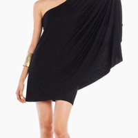 One Shoulder Box Dress in Black
