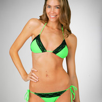 Sexy Lime Green Lace Swimsuit 2 Pc