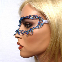 Womens masquerade mask in blue,costume, accessories,  handmade