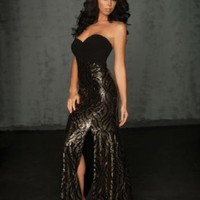 Black and Gold Sequin Evening Gown/Prom Dress Size 2 Night Moves (6034):Amazon:Everything Else