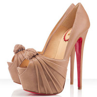 Christian Louboutin Lady Gres 160mm Peep Toe Beige Pumps - $149.00