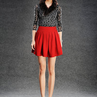 Pleated Skirt Red Flared Vintage Mini Skirt