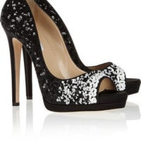 Oscar de la Renta Valerie sequin-embellished platform pumps – 65% at THE OUTNET.COM