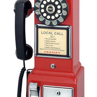 Red Crosley Pay Phone | Retro Phones | RetroPlanet.com