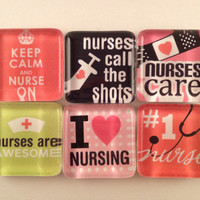 Nurse Magnets - set of six - pretty nurse (RN) themed magnets, glass magnets, fridge magnets, kitchen magnets, cubicle magnets