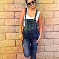 Free People Womens Washed Denim Overall -