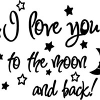 I love you to the moon and back again! cute baby nursery wall art wall sayings:Amazon:Baby