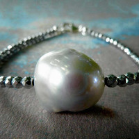 Grey Flameball Single Pearl Statement Bracelet. Handmade Pearl Jewelry