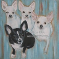 Table for 4...Please!  Chihuahua Art Print