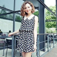 Classic Retro Style Peaked Collar Floret Pattern Sleeveless Dress Black