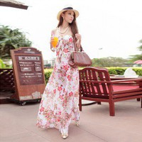 Elegant Backless Peony Printting Halter Neck Maxi Dress White