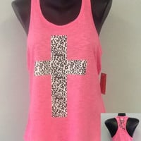 Racer tank w/ laced back- CROSS