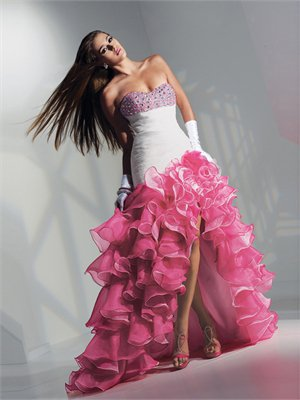 High-Low Sweetheart hand beaded organza prom dress pd1464