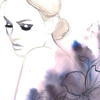 Original watercolor fashion illustration by Jessica Durrant titled, Evening Rapture