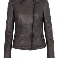 Lyme Leather Rider Biker Jacket in Hard Grey