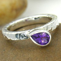 one of a kind simple hammered silver purple amethyst love eternity ring - instock now and ready for love | chadasoph - Jewelry on ArtFire