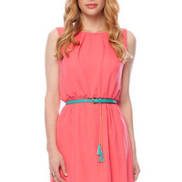 Beverly Belted Tank Dress in Coral :: tobi