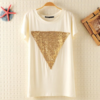 Triangle Geometry Pattern Sequins Batwing T-shirt