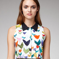 Jil Sander Navy Printed Collared Silk Blouse