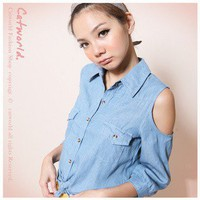 Leisure Single breasted Shoulder Off Imitate Cowboy Blouse Dark Blue