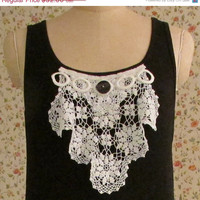 ON SALE CIJ Tank Top Vintage Lace and Button Cottage Chic Boho Doily Inspirational Words Hippie Gypsy