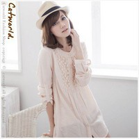 Japanese Design with Lace Embellished Long Sleeves Loose Blouse