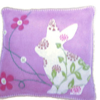 Felt Pillow DIY Kit. Bunny, prepunched felt, Everything included