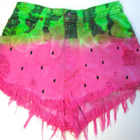 Juicy' WATERMELON Tie Dye Cut Off High Waisted Denim Shorts | fresh-tops.com