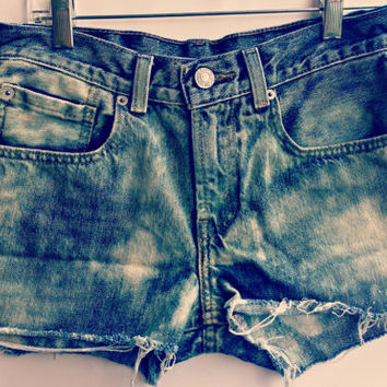 Levi Jean Shorts Bleached Tie Dye Denim Shorts Mid Waisted Boho Hipster