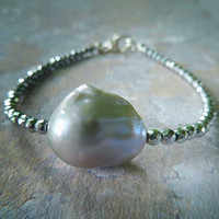 Silver Pearl Bracelet. Iridescent Grey Flameball Baroque Pearl and Pyrite Beads. Handmade Pearl Jewelry