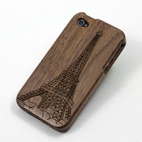Wooden Iphone4 Case The Eiffel Tower by BlueCubes on Etsy