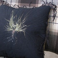 Pillow Black Grass Roots Monoprint Earthy Moss Green by Art2Carry