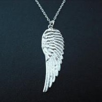 matte white gold angel wing necklace white gold by Lana0Crystal