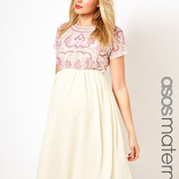 ASOS Maternity Midi Dress With Embellishment at asos.com