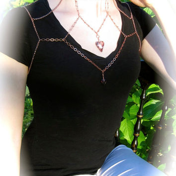 Armour L'Amour Body Harness w/ Swarovski Hearts & Cupid Wings in Back (Adjustable) Romantic Valentine's Wedding Jewelry
