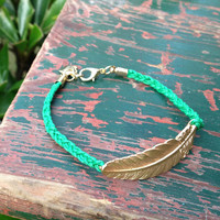 Hand-woven Golden Metal Leaf Bracelet
