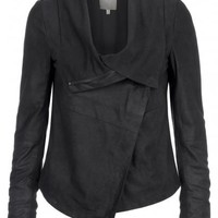 Sinoia Suede Drape Jacket in Black