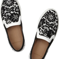 Givenchy | Lace-covered leather sneakers   | NET-A-PORTER.COM