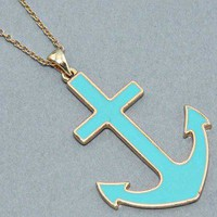 Big Bold Mint Green & Gold Anchor Pendant Delicate Gold Tone Chain NECKLACE