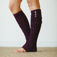 Purple Button Leg Warmer Boot Socks Leg Warmers - Over the Knee Stretchy Pretty Socks