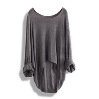 Gray Batwing Loose Asymmetric Sweater