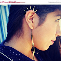 christmas in july sale spikes behind the ear ear cuff, dangle ear cuff, ear piece, tribal ear cuff, punk ear cuff
