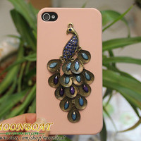 Beautiful Brass Peacock  Light Pink Hard Case Cover For iPhone 4 4g 4s